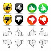 picture of thumbs-up  - Selection of thumb icons and badges - JPG