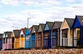 image of herne bay beach  - Colorful beach huts on the beach in EnGLAND - JPG