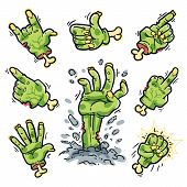picture of zombie  - Cartoon Zombie Hands Set for Horror Design - JPG
