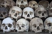 picture of morbid  - Stacked human skulls at the Killing Fields of Choeung Ek Cambodia - JPG