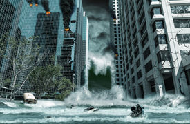 picture of modifier  - A cinematic portrayal of a city destroyed by Tsunami waves - JPG