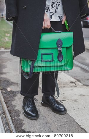 Detail Of A Bag Outside Gucci Fashion Show Building For Milan Men's Fashion Week 2015