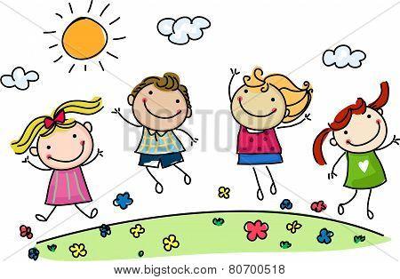 jumping happy kids