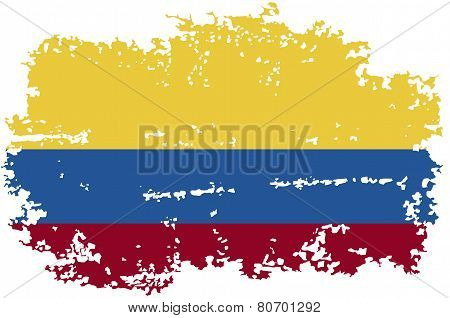 Colombia grunge flag. Vector illustration.