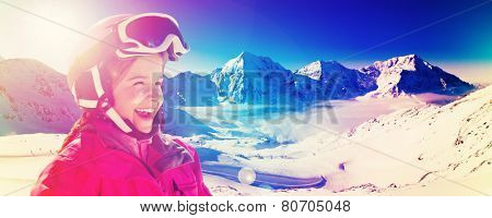 Skiing, winter sport - skier on mountainside, filtered