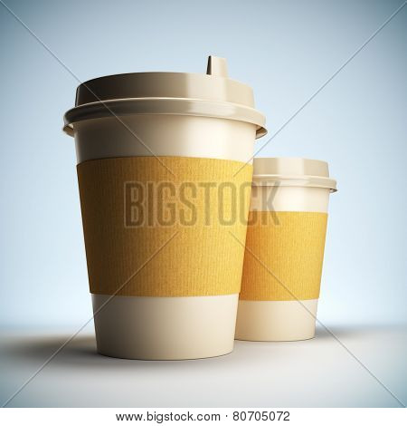 A 3D illustration blank template layout of Coffee cups. Coffee cup surface empty to place your text or logo.