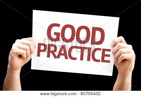 Good Practice card isolated on black background