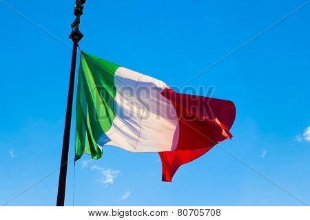 Flag of Italy, waving in the wind, on the sky