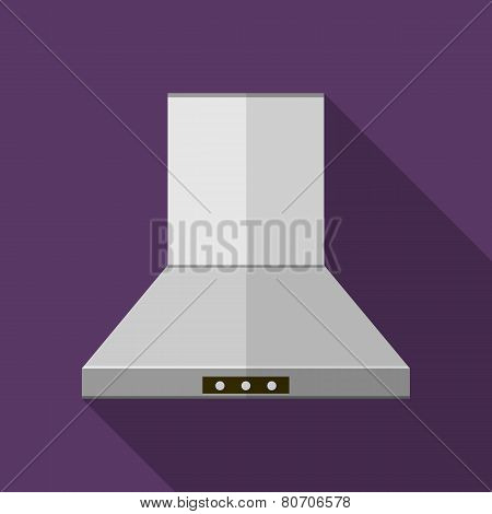 Flat vector icon for kitchen. Hood extractor