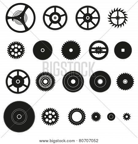 Various Cogwheels Parts Of Watch Movement Eps10