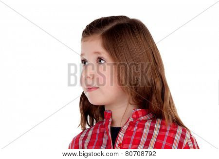 Adorable little girl with red plaid shirt looking at side isolated on a white background