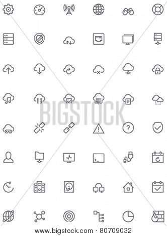 Set of the simple network and cloud services related glyphs