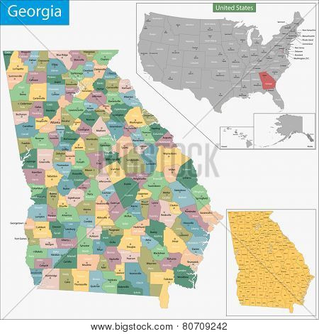 Map of Georgia state designed in illustration with the counties and the county seats