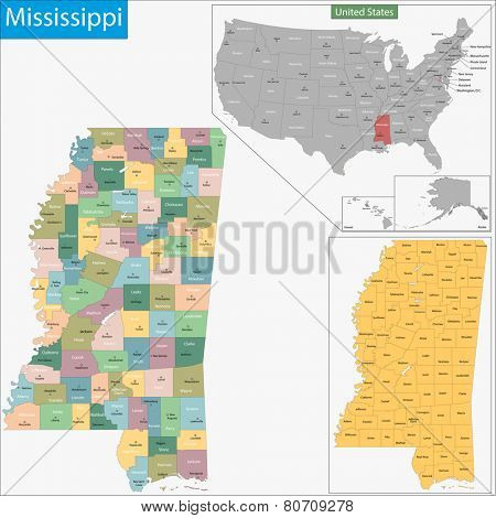 Map of Mississippi state designed in illustration with the counties and the county seats