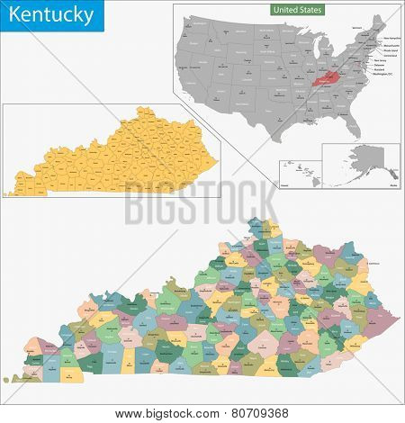Map of Commonwealth of Kentucky designed in illustration with the counties and the county seats
