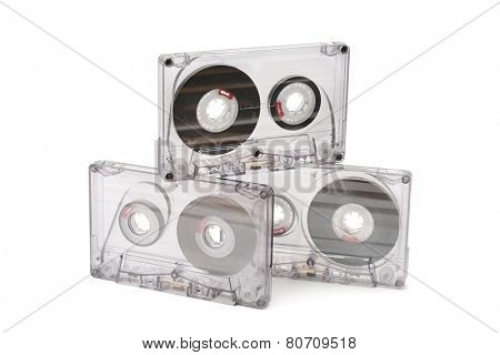 audio cassettes isolated on white background