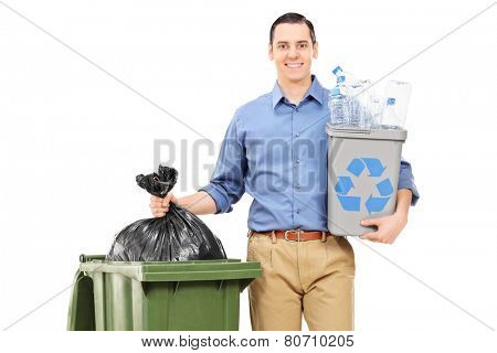 Man holding a recycle bin by a trash can isolated on white background
