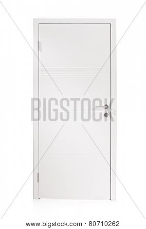 Studio shot of a white metal door isolated on white background