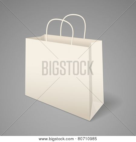Paper shopping bag with handles. Vector illustration, easily editable