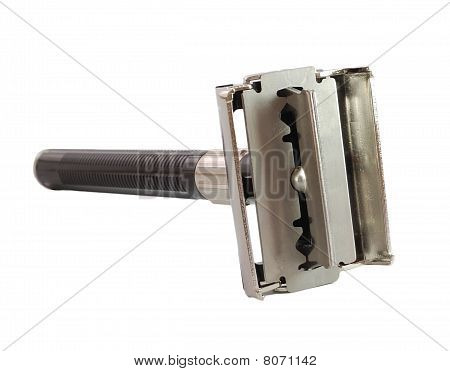 Safety Razor Open With Blade Isolated