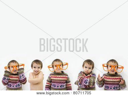 Concept of the same child posing as many ones multiplied with copy space
