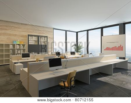 3D Rendering of Large bright open-plan commercial office interior with rows of workstations at wooden benches with bookcases filled with binders, a graph, and large floor-to-ceiling view windows