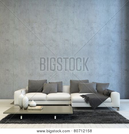 3D Rendering of Architectural Living Room Design, Styled with Off White Couch, Paired with Gray Pillows and Carpet, and Short Gray Table.