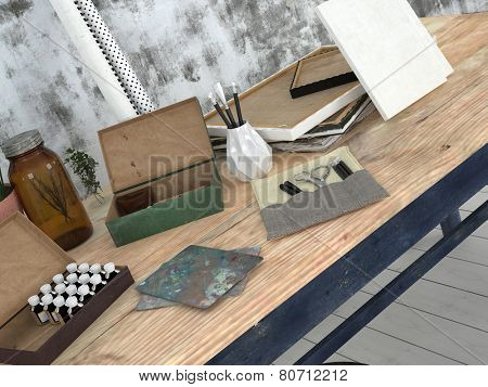 3D Rendering of Wooden desk in an Artist or designer studio with pencils and canvas in front of concrete wall