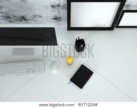 3D Rendering of Overhead view of a neat office desk with a modern desktop computer and keyboard, picture frames, diary pencils and glass of orange juice