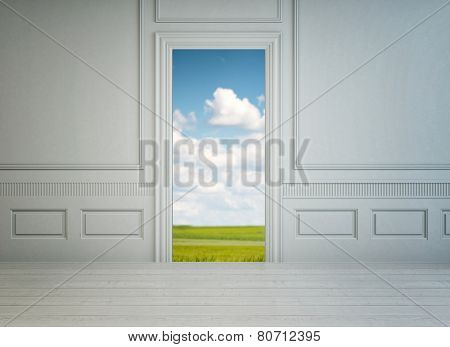 3D Rendering of View from inside through an open door in a classic white paneled room with a garden view of a lush green lawn under a cloudy blue summer sky