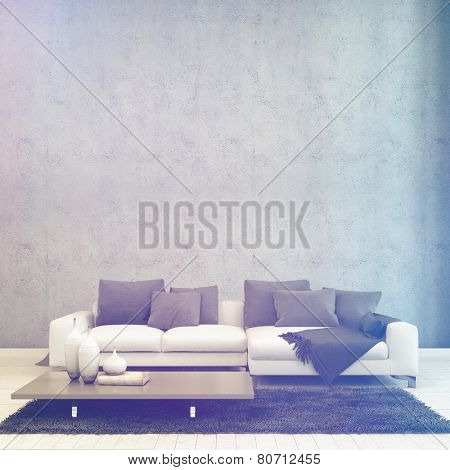 3D Rendering of Illuminated Simple Architectural Living Room, with Couch and Table, Inside a House with Abstract Wall Design.