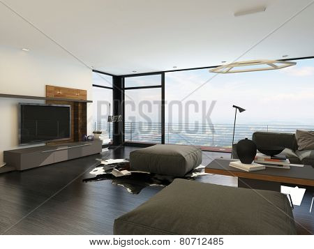 3D Rendering of Large living room overlooking countryside through a floor-to-ceiling glass window with a patio furnished with a brown modular lounge suite with flat screen TV