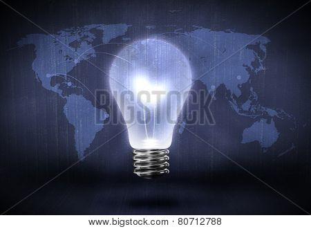 Conceptual background image with light bulb and world map