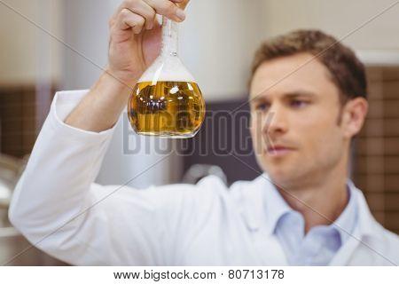 Focused scientist holding beaker with beer in the factory