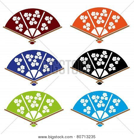 Asian Hand Fan Various Colors Set Eps10