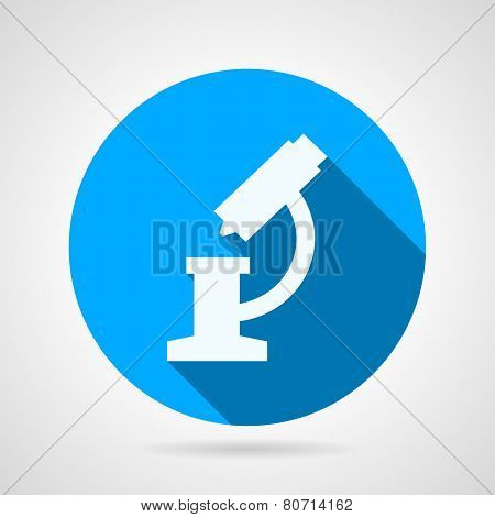 Flat round vector icon for microscope