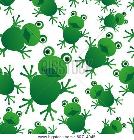 Green Frog Animal Looks At You Seamless Pattern Eps10