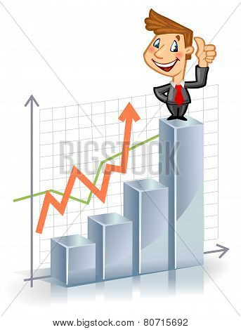 Businessman on the top of chart