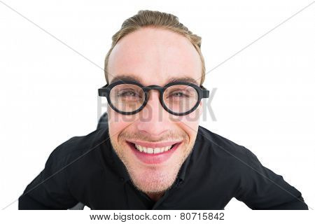 Portrait of smiling geek in shirt on white background