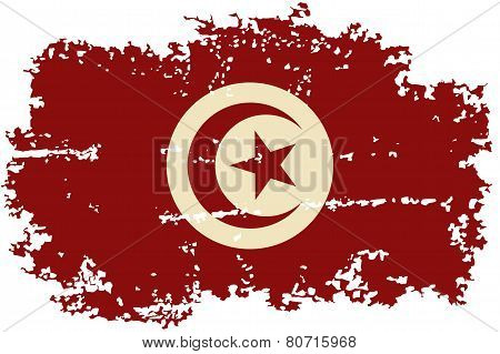 Tunisian grunge flag. Vector illustration.