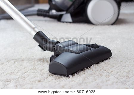 Vacuuming A Thick Pile White Carpet