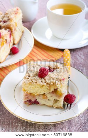 Nectarine And Raspberry Buckle