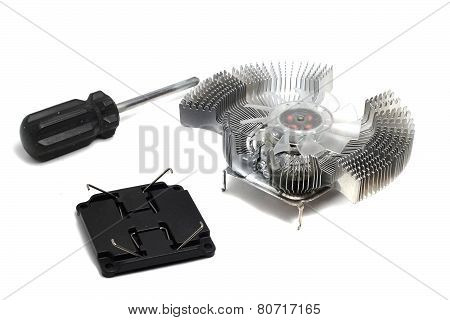 Cooling Fan For Pc And Screwdriver