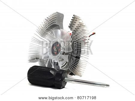 Cooling Fan For The Video Card On A White Background