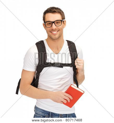 picture of student with backpack and book in specs