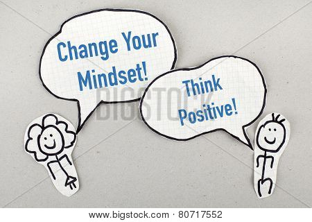 Change Your Mindset, Think Positive / Inspirational Motivational Phrase Concept