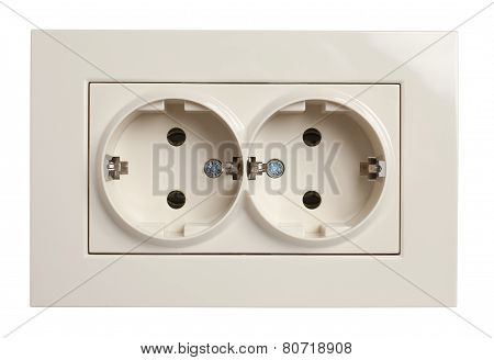 Front View Of Twin Electrical Outlet Socket