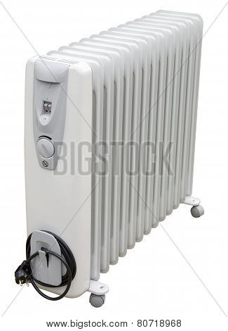 White Coastal Electric Heater On Oil With European Ac Plug On White Background. Isolated With Clippi