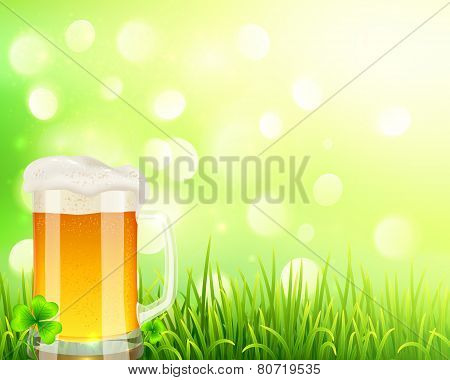 Pint of beer on bokeh light background