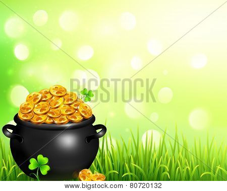 Vector pot of magic gold on bokeh light background
